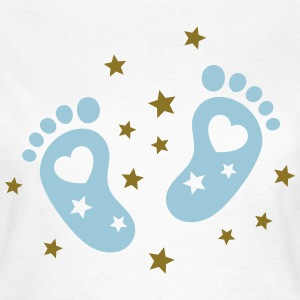 Baby feet with hearts and stars. Pregnancy baby T-Shirts - Women's T-Shirt