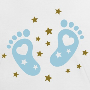 Baby feet with hearts and stars. Pregnancy baby T-Shirts - Women's Ringer T-Shirt