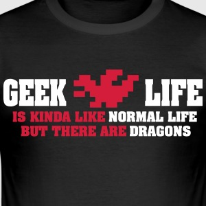 Geek life - there are dragons T-shirts - Herre Slim Fit T-Shirt