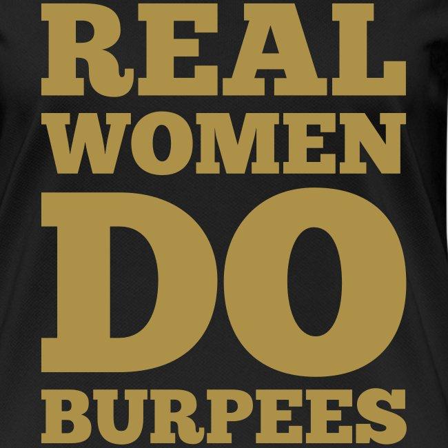 Real women do burpees #1 - Motiv vorne, Gold-Glitzer