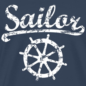 Sailor Wheel Vintage Weiß Segel Design T-Shirts - Männer Premium T-Shirt