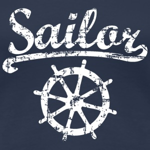 Sailor Wheel Vintage White Sailing Design T-Shirts - Women's Premium T-Shirt