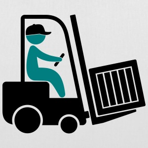 A forklift transporting a box Bags & Backpacks - Tote Bag