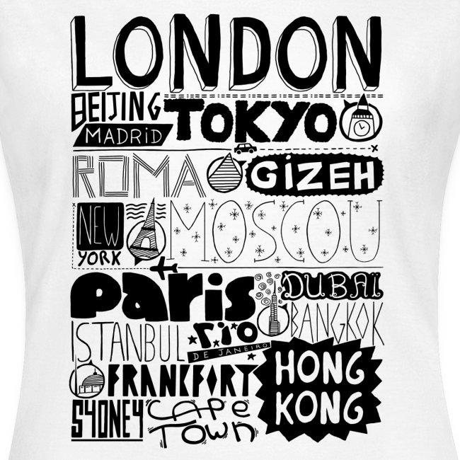 T-shirt Villes du monde - Femme