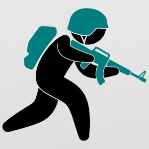 A soldier running with his assault rifle Bags & Backpacks - Tote Bag