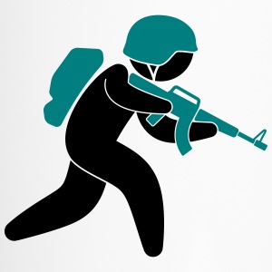 A soldier running with his assault rifle Mugs & Drinkware - Travel Mug