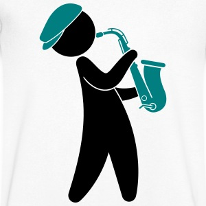 A jazz musician playing on the saxophone T-Shirts - Men's V-Neck T-Shirt