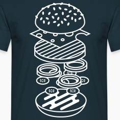 Marineblå burger T-shirts