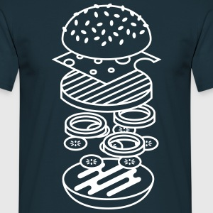 Marineblå burger T-shirts - Herre-T-shirt