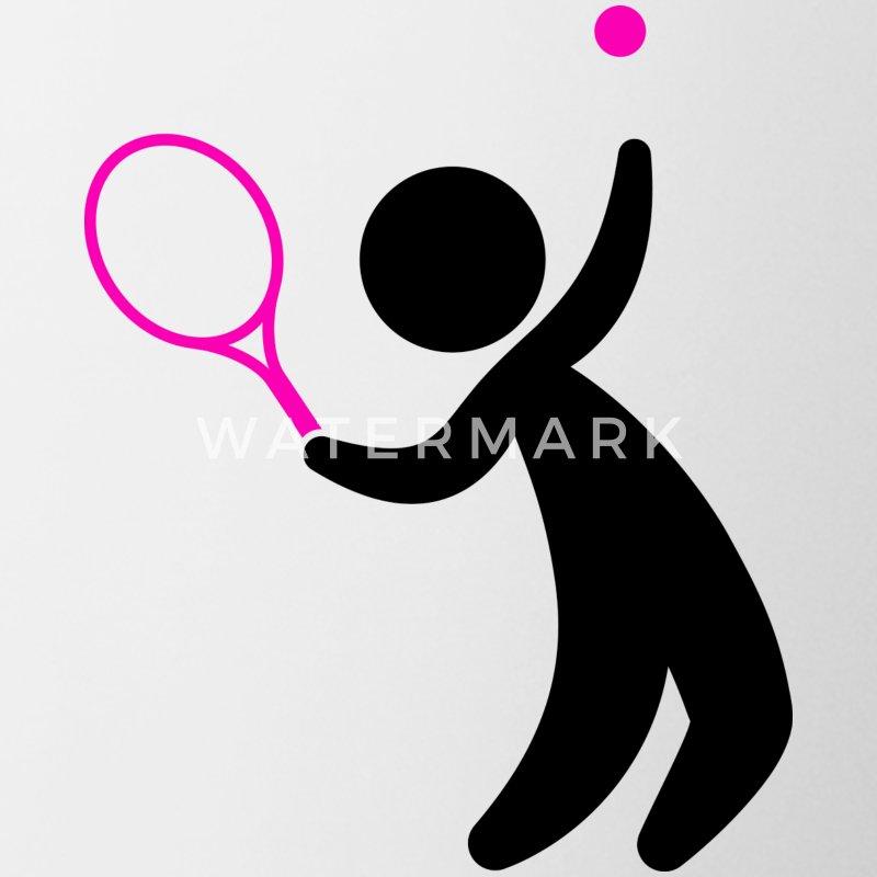 Schoudertas Tennis : Een tennis speler raakt de bal mok spreadshirt