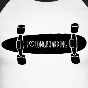 I love Longboarding j'aime longboard Manches longues - T-shirt baseball manches longues Homme