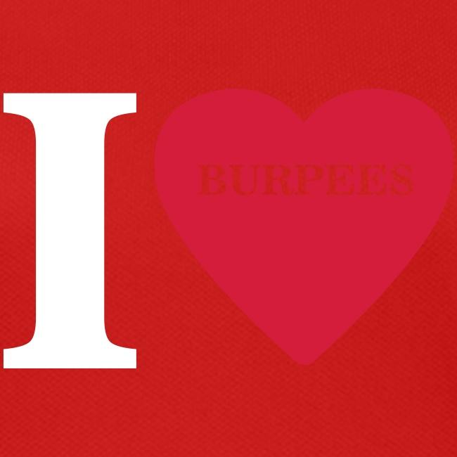 I Love Burpees #1 - Motiv vorne, Weiss / Rot
