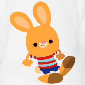 Cute Mischievous Cartoon Bunny by Cheerful Madness Shirts - Organic Short-sleeved Baby Bodysuit