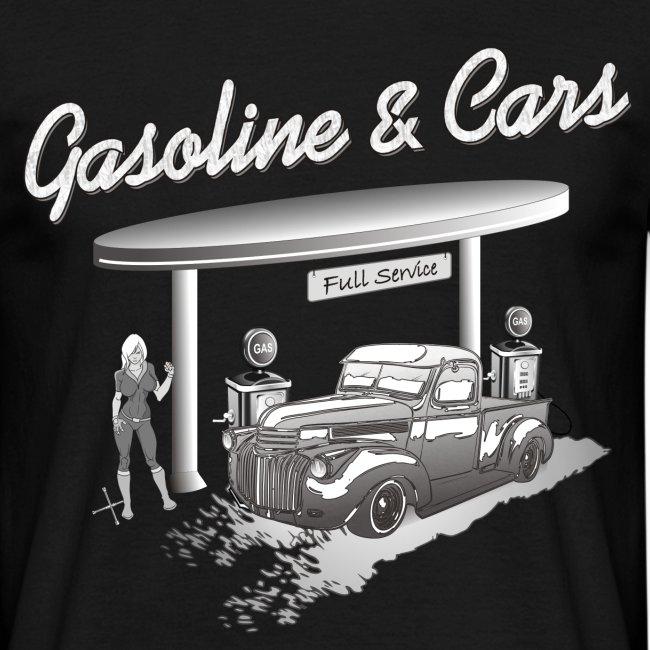 Oldtimer Pickup an Tankstelle