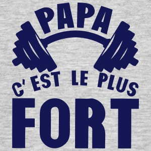 papa plus fort haltere logo Tee shirts - T-shirt Homme