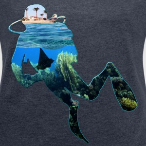 Diver in the house Part 3 T-Shirts - Frauen T-Shirt mit gerollten Ärmeln