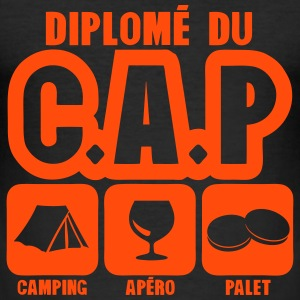 diplome cap camping apero palet humour Tee shirts - Tee shirt près du corps Homme