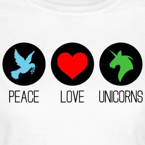 Peace, love and unicorns T-Shirts - Frauen T-Shirt