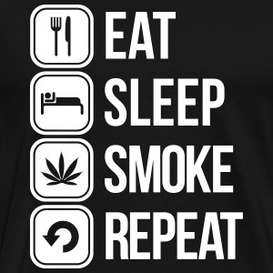 eat sleep smoke repeat T-shirts - Mannen Premium T-shirt