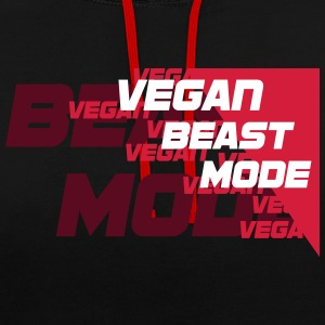 Vegan Beast Mode [red] [vector] Pullover & Hoodies - Kontrast-Hoodie