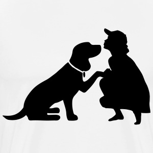 Dog with mistress T-Shirts - Men's Premium T-Shirt
