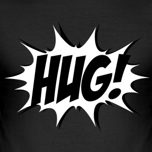 Comic HUG! Boom, Bang, Superhero, Quotes, Funny T-Shirts - Men's Slim Fit T-Shirt