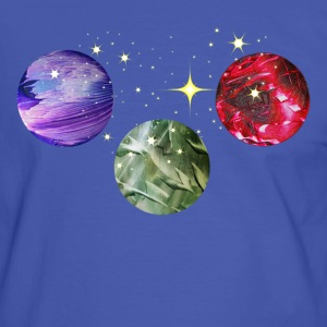 Planets Colourful Cosmic Art by patjila T-shirts - Mannen contrastshirt