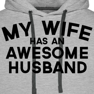 Wife Awesome Husband  Sweaters - Mannen Premium hoodie