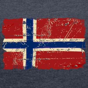 Norway Flag - Vintage Look  T-skjorter - T-skjorte med rulleermer for kvinner