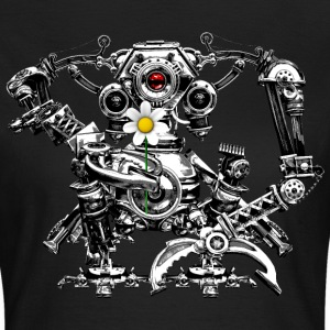Steampunk Robot with a flower - Camiseta mujer