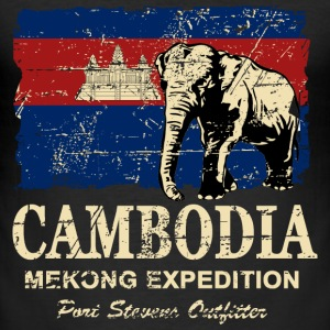 Cambodia - Elephant - Vintage Look  T-shirts - Herre Slim Fit T-Shirt