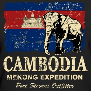 Cambodia - Elephant - Vintage Look  Magliette - T-shirt ecologica da donna