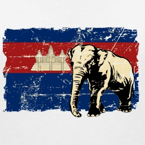 Cambodia - Elephant - Vintage Look  Tee shirts - T-shirt col V Femme