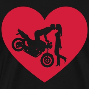 Motorcycle kiss Naked Bike Heart T-Shirts - Men's Premium T-Shirt