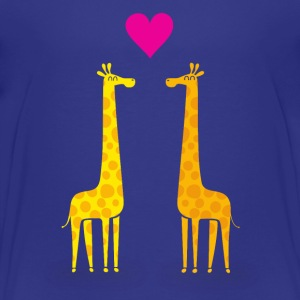 Funny & Cute Giraffes Couple in Love (Heart) Shirts - Kids' Premium T-Shirt
