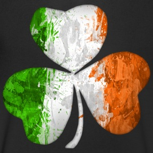 Irish Flag Clover Grunge T-Shirts - Men's V-Neck T-Shirt