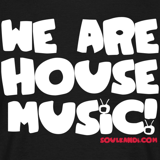 White with Red Print Tee - We Are House Music!