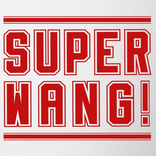 SUPER WANG! Becher weiß mit rotem Logo