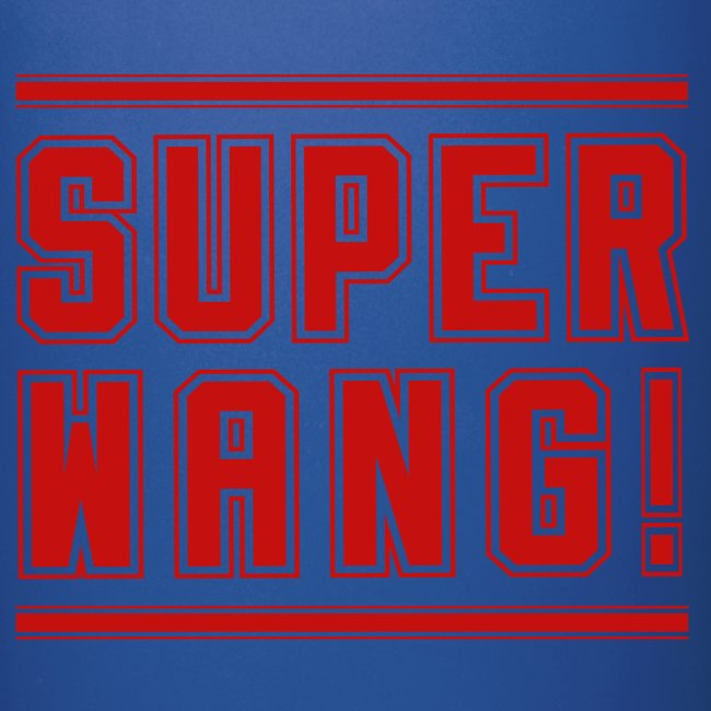 SUPER WANG! Becher blau mit rotem Logo
