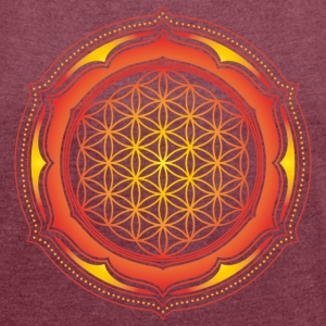 Flower of Life, Spiritual Healing Symbol T-Shirts - Women's T-shirt with rolled up sleeves