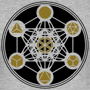 Platonic Solids, Metatrons Cube, Flower of Life T-skjorter - Slim Fit T-skjorte for menn