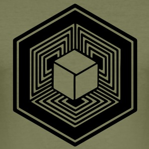 TESSERACT, Hypercube 4D, Crop Circle, 17th July 2010, Fosbury, Wiltshire, Symbol - Dimensional Shift T-shirts - Herre Slim Fit T-Shirt
