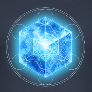 Metatrons Cube with TESSERACT, Hypercube 4D, digital, Symbol - Dimensional Shift,  T-skjorter - Slim Fit T-skjorte for menn