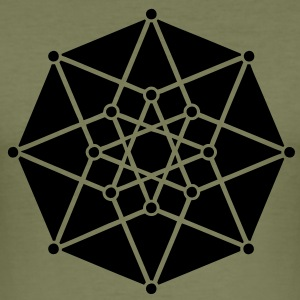 TESSERACT, Hypercube 4D, c, Symbol - Dimensional Shift, Metatrons Cube, Ishtar Star T-skjorter - Slim Fit T-skjorte for menn