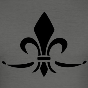 Fleur de Lis - Lily Flower, Trinity Symbol - Charity, Hope and Faith, c, 1 T-shirt - Maglietta aderente da uomo