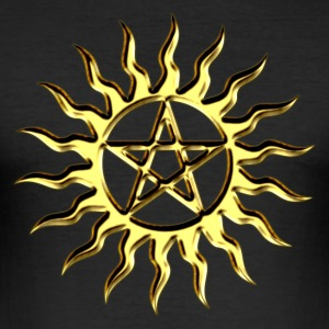 Pentagram - Blazing Star- Sign of intellectual omnipotence and autocracy. digital gold, Star of the Magi , powerful symbol of protection Tee shirts - Tee shirt près du corps Homme