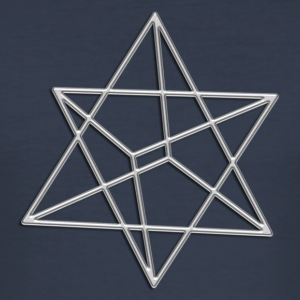 Merkaba, 3D, silver, divine light vehicle, sacred  - Männer Slim Fit T-Shirt