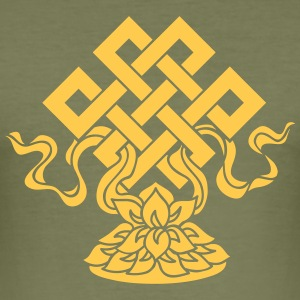Eternal Knot, Endless, Lotus, Tibetan Buddhism, T-skjorter - Slim Fit T-skjorte for menn