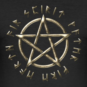 Runic Pentacle, pentagram, protection, runes T-Shirts - Men's Slim Fit T-Shirt