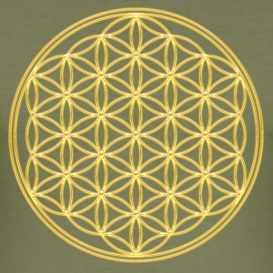 FEEL THE ENERGY, Flower of Life, Gold, Sacred Geometry, Protection Symbol, Harmony, Balance T-Shirts - Men's Slim Fit T-Shirt
